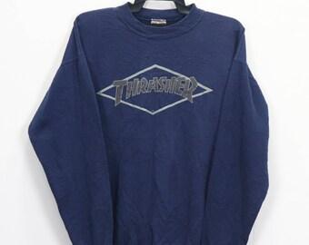 d4298d5e382 Vintage 90 Thrasher Skateboard Magazine Big Logo Sweater Pullover Live to Skate  Skate to Die Size Medium 50 50