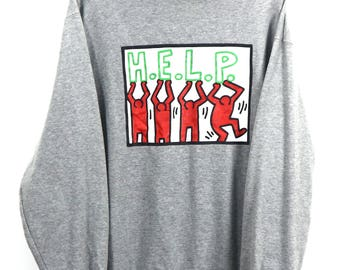 583af5f8e Vintage K.Haring Pop Art Keith Haring Pullover Sweater Dance People Pop Art  Andy Warhol Sweater Haring Size XLarge
