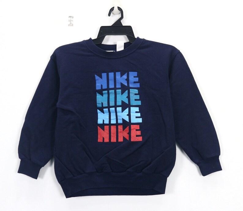 Vintage NIKE Sweater Jacket Spell Out Big logo Nike Kids Crew Neck Sweatshirt Navy Blue Size Medium
