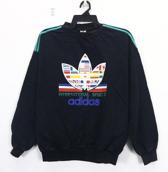 Vintage Adidas International Sport Embroidery Sweater Crew neck Sweatshirt Jumper Multicolor Pullover Sport wear Training Shirt Size Medium