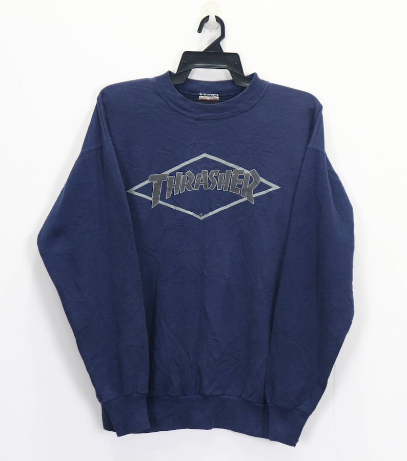 Vintage 90 Thrasher Skateboard Magazine Big Logo Sweater Pullover Live to  Skate Skate to Die Size Medium 50 50
