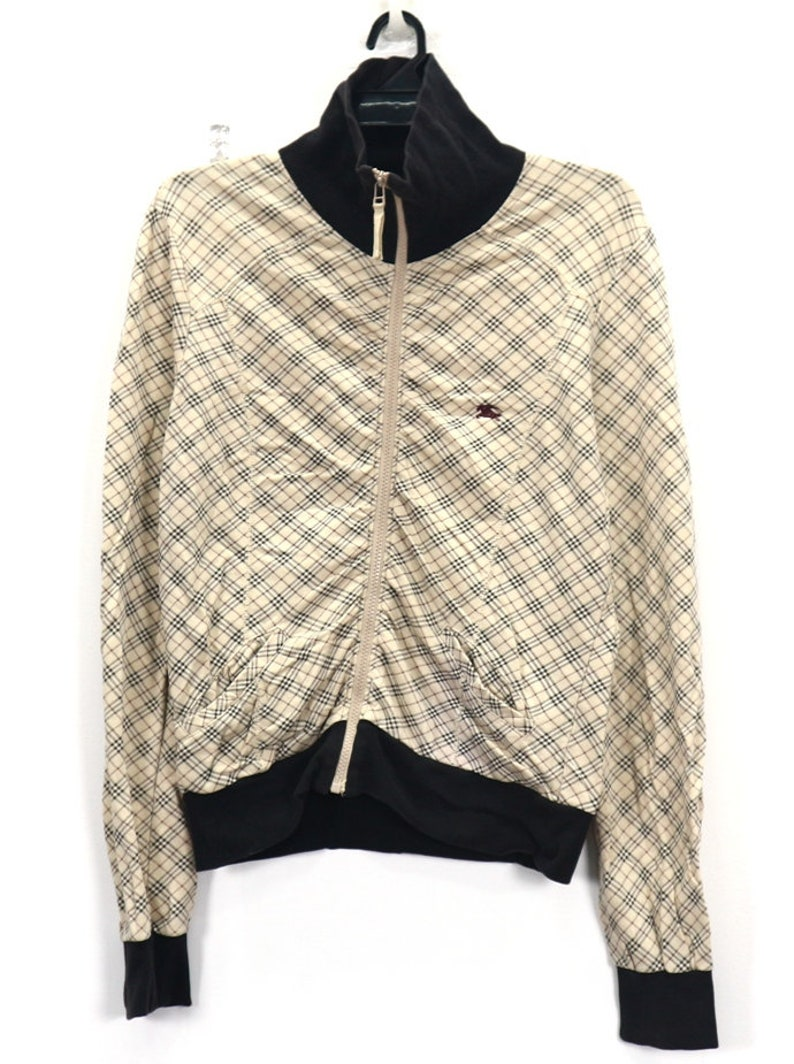 a97fb1c316c3 Vintage BURBERRY London Zipper Up Sweater Full Printed
