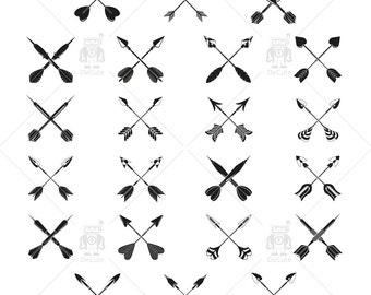 Tribal Cross Arrow Clipart, Archery, Instant Download Vector