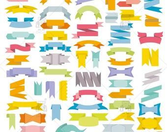 Digital Ribbons, Labels & Banners Vector Clipart, Flag Clip Art, Digital Scrapbook