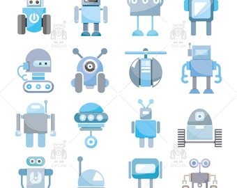 Robots Clipart, Friendly Robot Clipart, Funny Robot Vector