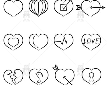 Hand drawn Hearts Clipart Vector Hearts Clip Art, Scrapbooking Heart Icons Invitations Logo Design Wedding Icons Valentines
