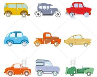 Classic Cars, Old vintage car Clip art vector