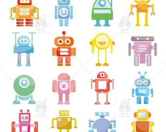 Friendly Robot Clipart, Kids Robots Clipart, Vector Robots, Funny Robots