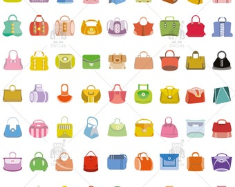 Fashion Bag, Hand Bag and Shopping Bag Vector Clip Art