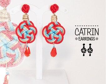 Catrin2 Earrings. Red earrings blue and beige. Lightweight fabric.