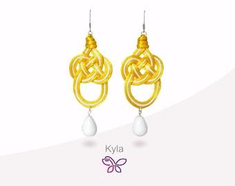 Kyla 8 Earring. Fabric. Celtic knot. Yellow earrings. Lightweight earrings. Fashion Earrings