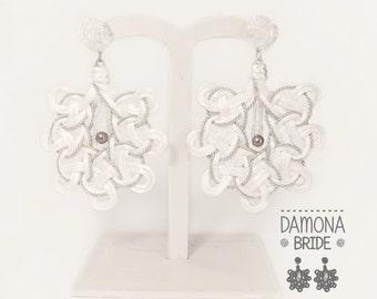 DAMONA BRIDE. Wedding earrings. Wedding earrings. White elegant earrings. alternative Wedding ear rings. Lightweight earrings