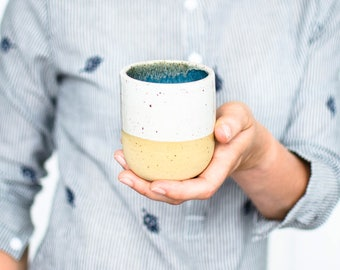 Minimalist mug in blue white/handmade cup with white glaze and small dots/cup in ceramic in modern design