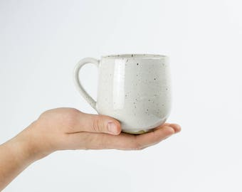 White mug with speckles//cup of ceramic with small dots//handmade cup for coffee and tea with white glaze
