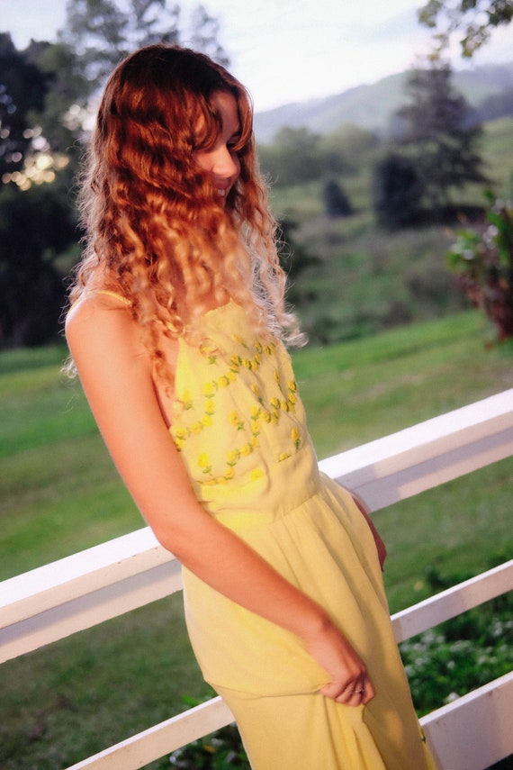Cotton Maxi Dress - '70s - Lemon