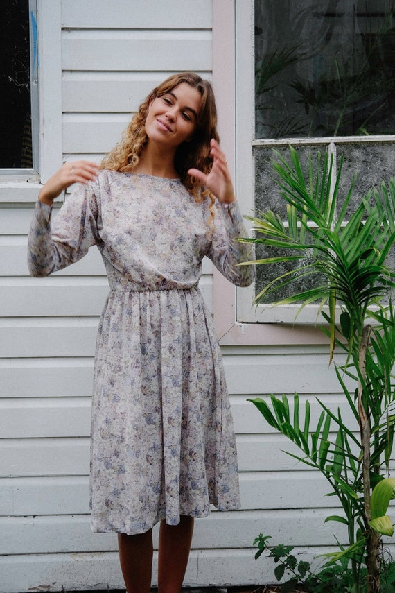 Californian Vintage Dress - Pastel Floral