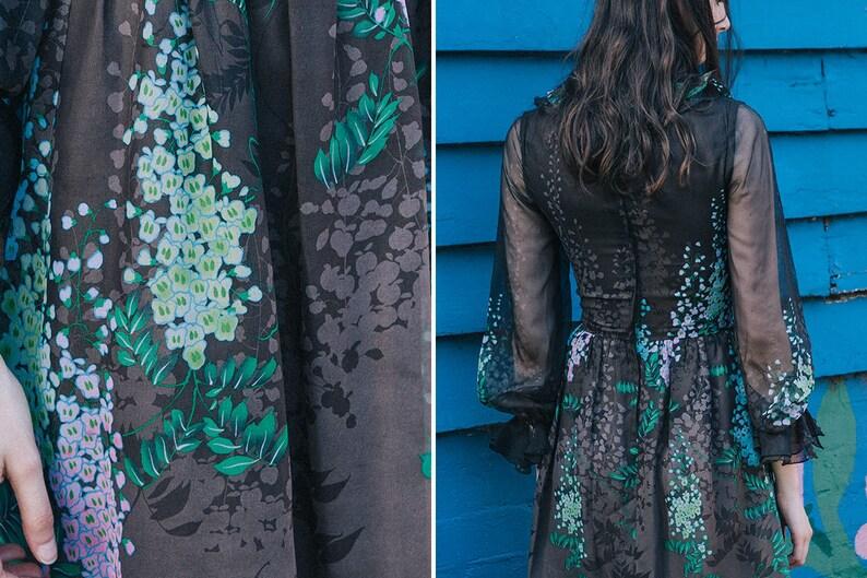 Floral Silk Dress ~ /'70s Vintage