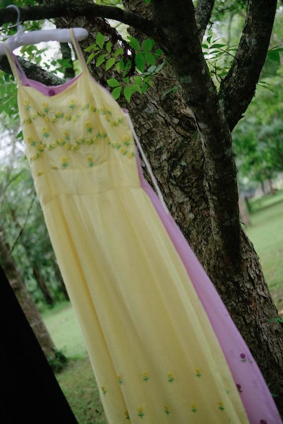 Cotton Maxi Dress - '70s - Lemon - image 10
