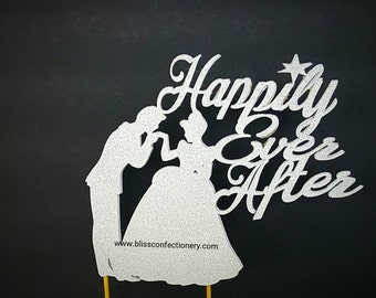 Cinderella Cake Topper - Wedding Cake Topper - Happily Ever After Cake Topper - Custom Cake Topper-silver bling topper