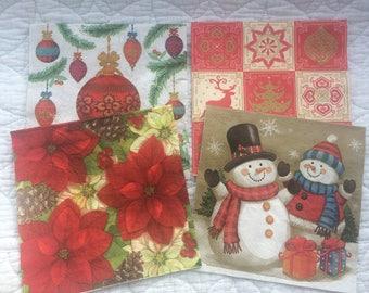 4 x Assorted Christmas Paper Napkins