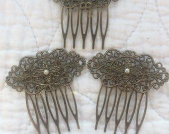 3 x Handmade Vintage Style Hair Combs