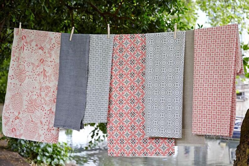 Geometric Fabric Elmas Fresh Pink Charcoal Grey Cotton Flax Fabric Pink Fabric Mid Century Fabric Scandinavian Fabric Pink Mid Century