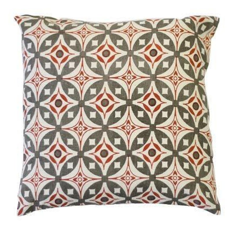 Elmas Charcoal Grey Indian Rust Cotton Flax Fabric Geometric Fabric Grey Fabric Mid Century Fabric Scandinavian Fabric Red Mid Century