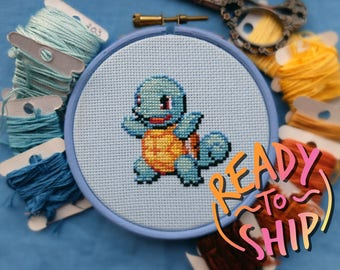 "Squirtle Pokemon Cross Stitch in 4"" Hoop"