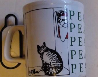 Kliban cat peace christmas mug