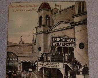 Trip to mars by aeroplane postcard from coney island