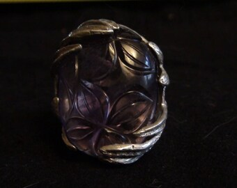 carved amethyst ring in sterling silver