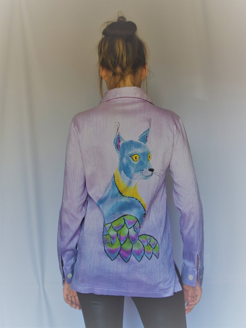 Womans Lilac shirt long sleeve with batik animal print Cat Shirt from Silk natural Blouse for woman Casual classic shirt Lilac tunic tops