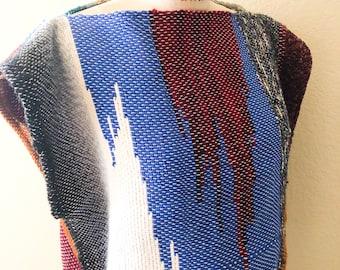 CUSTOM- Reversible SAORI Kaftan Tank top in mostly cotton ooak top sleeveless shirt one size fits many artwear