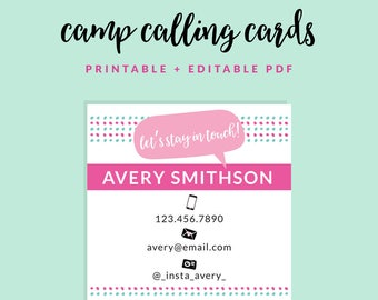 Printable Summer Camp Calling Cards - Customizable + Printable PDF - Stay in Touch - Instant Download! - Square Calling Cards
