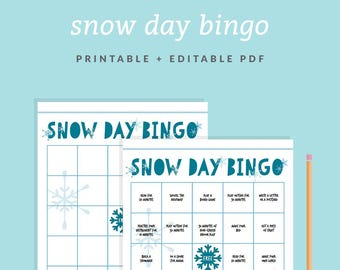 Snow Day Bingo Game - Customizable + Printable Bingo Card - Kids' Snow Day Activity - All Day Fun -Instant Download