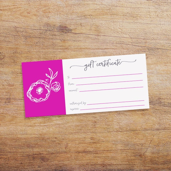 printable gift certificate for your small business gift etsy
