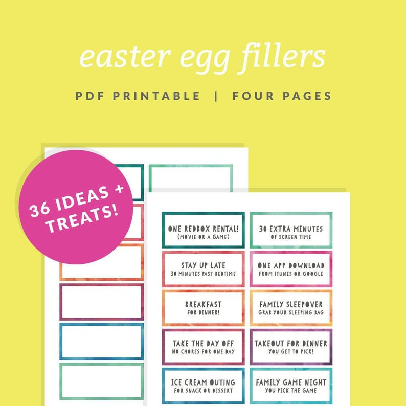 photo relating to At Home Coupons Printable named Easter Egg Filler Discount codes - Printable Easter Basket Fillers - Quick Obtain - Watercolor Easter Egg Borders - Easter Sweet Choice