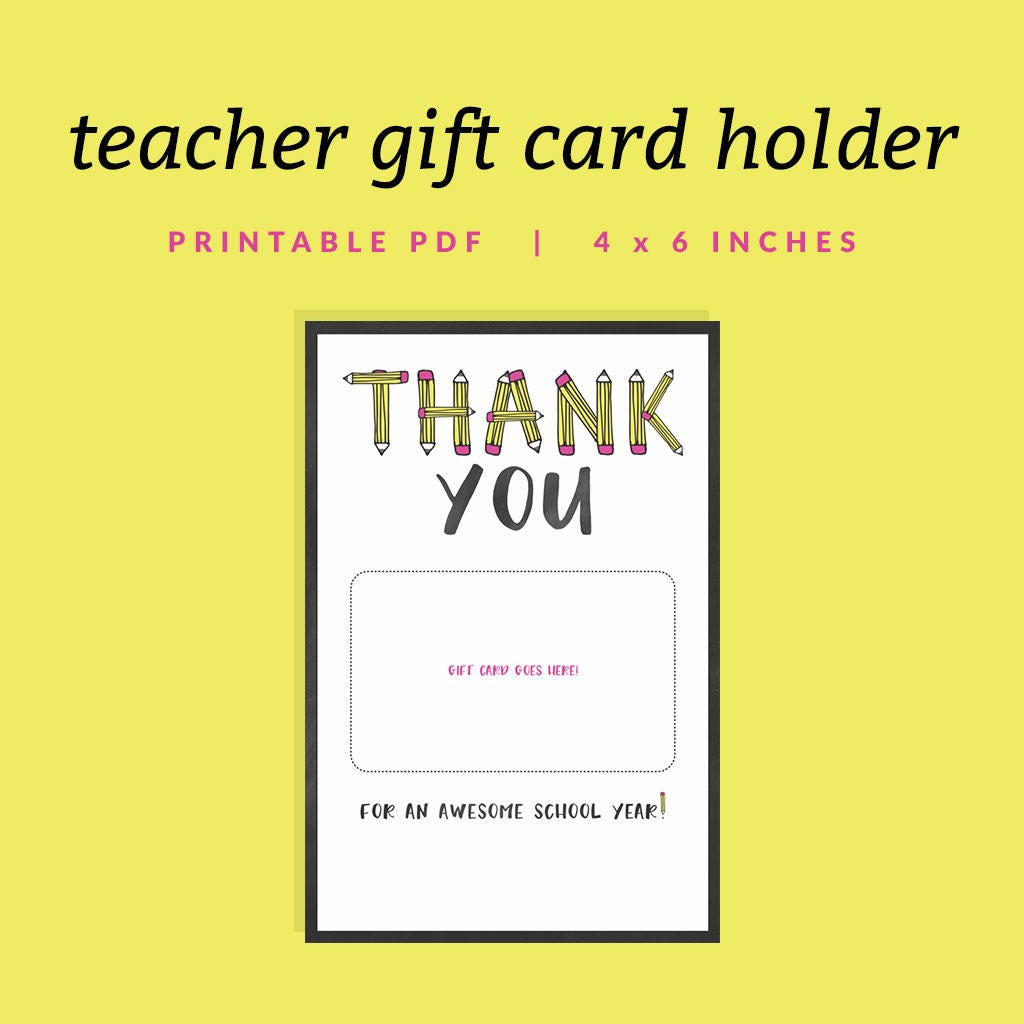 Teacher Gift Card Holder Printable Thank You Gift Card