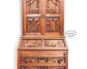 SOLD SOLD SOLD Antique, Spanish style, carved wood secretary desk with bookshelf