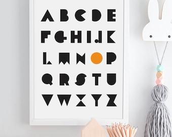 Personalised Alphabet Print, Letters Initial Print, Monochrome nursery art, scandinavian nursery, kids poster, wall decor