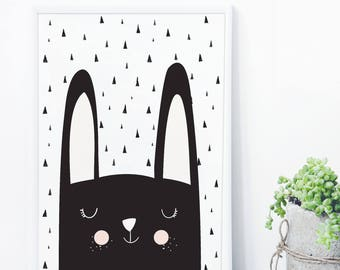 Bunny Rabbit Nursery Art, Monochrome Nursery, Nursery Decor, Bunny Wall Art, Kids Print, Scandinavian Art, Kids Wall Decor