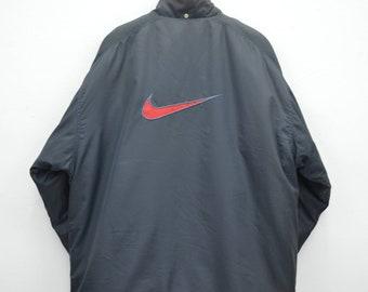 eb9c675de5f7 Nike Jacket Nike Distressed Jacket Vintage 90 s Nike Swoosh Big Logo Long  Winter Zipper Jacket Size L