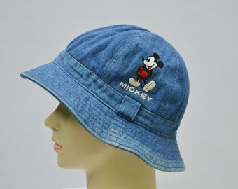 ad0b41ede05 Mickey Mouse Hat Vintage Mickey Mouse Walt Disney Bucket Hat Mickey Vintage  Denim Bucket Cap Made in Japan