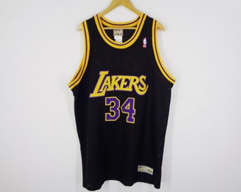 2dd732a1359 LA Lakers Jersey Los Angeles Lakers Shaquille O'Neal #34 Los Angeles Lakers  NBA Basketball Mesh Jersey By Hardwood Classic Majestic Size XXL