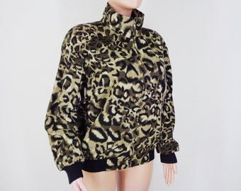b739543765b3 Leopard Jacket Leopard Print Jacket Vintage 90's Leopard Animal Prints  Abstract Royalty Bomber Jacket Size M