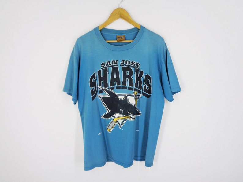 the latest 9d4c8 564ad San Jose Sharks Shirt Distressed Vintage San Jose Sharks T Shirt Vintage  90's San Jose Sharks NHL by Nutmeg Made In USA Tee T Shirt Size L