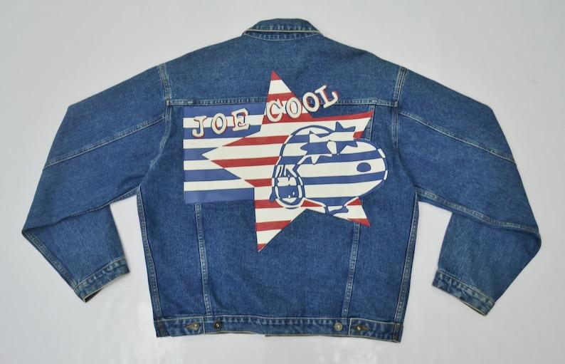 6ed55527e Joe Cool Jacket Snoopy Denim Jacket Size M Vintage 90's | Etsy