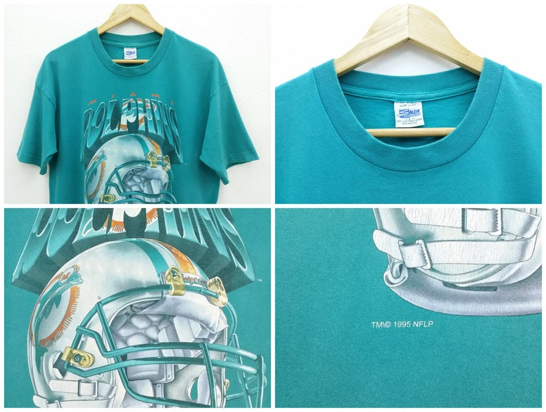 buy popular aa5c9 fcb18 Miami Dolphins Shirt Vintage 90's Miami Dolphins NFL American Football by  Salem Sportswear Shirt Made in USA Size L