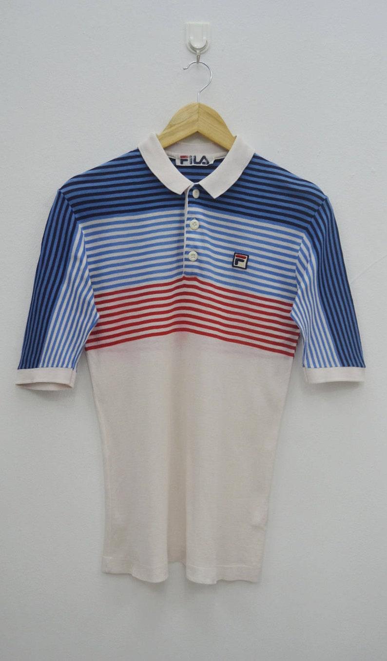 Fila Shirt Bjorn Borg Shirt Vintage 90's Fila Bjorn Borg Multicolor Stripes  Tennis Polo Shirt Size S