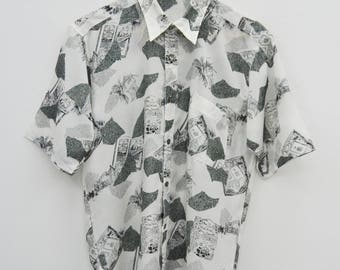 CARVEN Shirt Vintage 90's Carven Paris Monsieur All Over Print 100% Polyester Button Down Shirt Size M